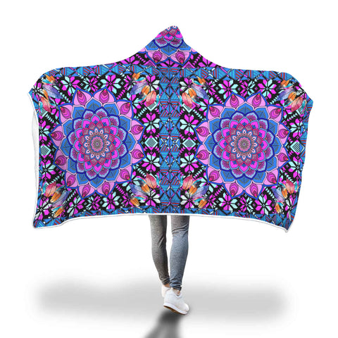 Mesmerising Purple Mandala Hooded Blanket