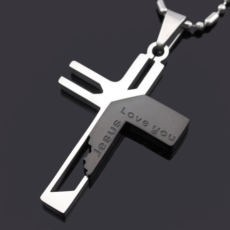 Jesus love you stainless steel cross pendant mypebing jesus love you stainless steel cross pendant mozeypictures Gallery