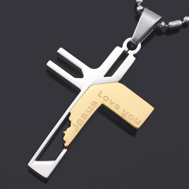 Jesus love you stainless steel cross pendant mypebing jesus love you stainless steel cross pendant aloadofball Images
