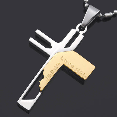 Jesus Love you Stainless Steel Cross Pendant