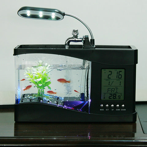 USB Mini Aquarium with LED, Digital Clock and Thermometer