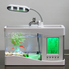 Image of USB Mini Aquarium with LED, Digital Clock and Thermometer