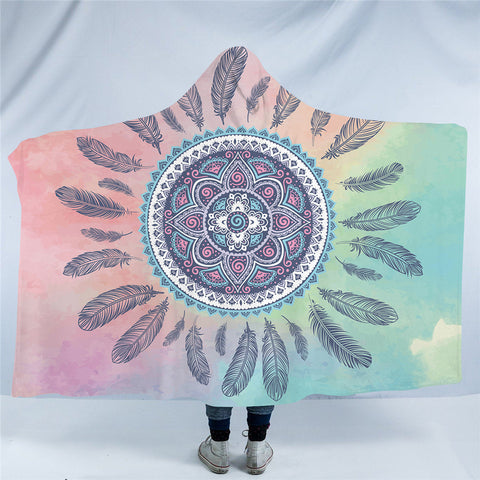 Aqua Lace Mandala Hooded Blanket