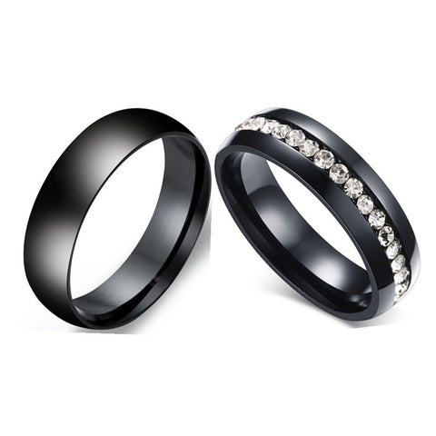 Black Wedding Style Couple Ring - Titanium with Crystal