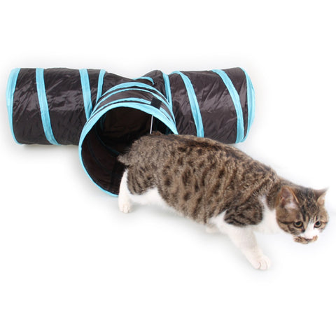 Foldable 3 way hideout fun tunnel for Cats : Also suitable for Dogs, Rabbits, other pets