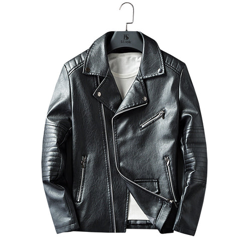 Men Biker PU Leather Jacket