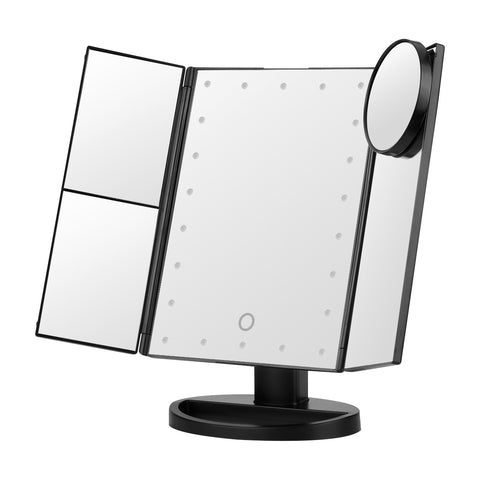 Multi-Panel Folding LED Touch Screen Makeup Mirror - 22 LED with 1X/2X/3X/10X Magnification