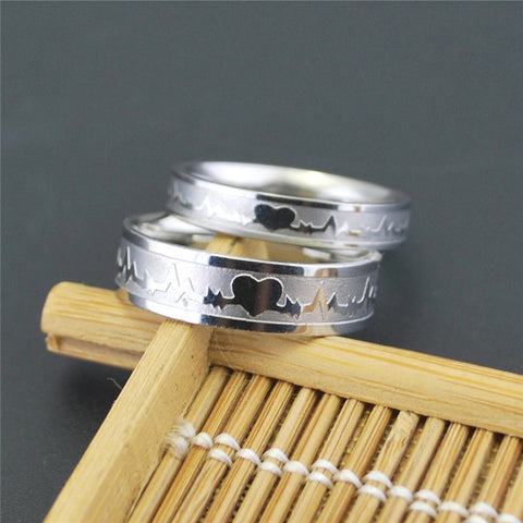 Heartbeat Signal Lovers' Couple Ring - Silver plated Titanium