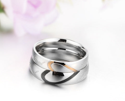 Heart-shaped puzzle Titanium lovers' Couple Ring - Silver plated