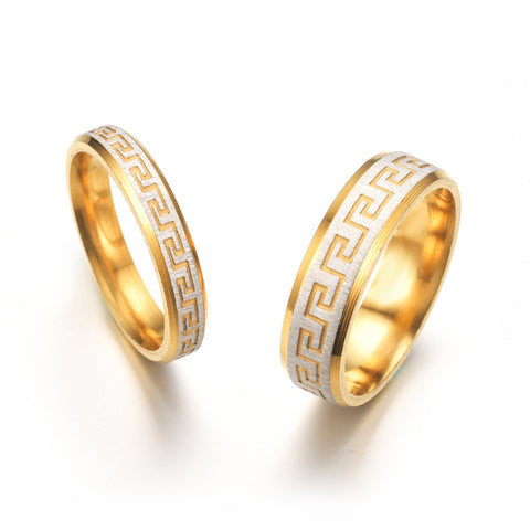 Golden Waves Fashion Couple Ring