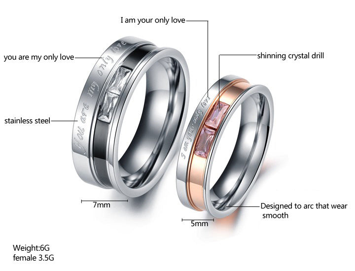 Only Love Couple Ring Titanium With Gemstone 2018 Design
