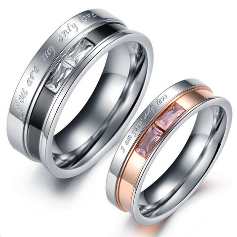 """Only Love"" Couple Ring Titanium with Gemstone - 2018 Design"