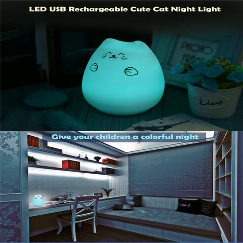 "6"" Color-Changing USB Rechargeable LED Cat Lamp - Touch Activated"