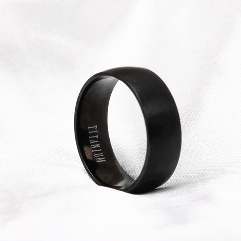 Unisex Gun Black Titanium Ring