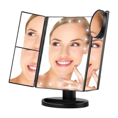 Image of Multi-Panel Folding LED Touch Screen Makeup Mirror - 22 LED with 1X/2X/3X/10X Magnification
