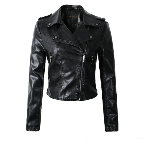 Women Biker PU Leather Jacket