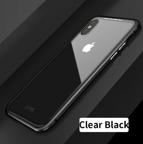 Magnetic 9H Clear Tempered Glass Phone Case - For iPhone