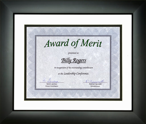"St. James® Awards & Certificate Frame, 16¼x 14¼"" (43 x 36cm), Tuxedo Black with Double Mat White/Black"