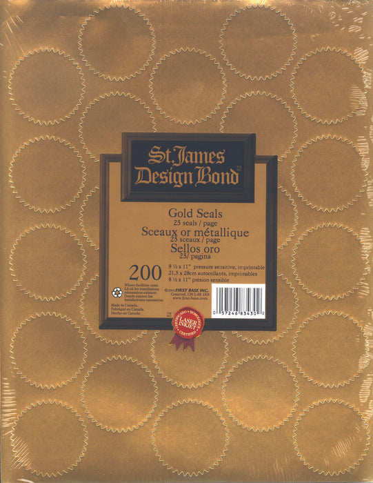 St. James® Imprintable Seals, Metallic Gold, 25/sheet, Pack of 8 (200 Seals)