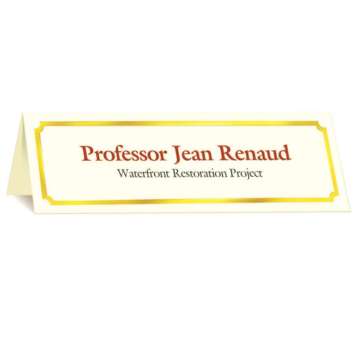 St. James® Overtures® Classic Tent Cards, Ivory, Gold Foil, Pack of 50