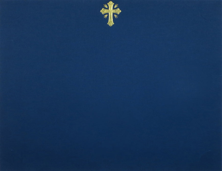 St. James® Presentation Cards/Certificate Holder with Gold Foil Crucifix, Navy Blue Linen, Pack of 25