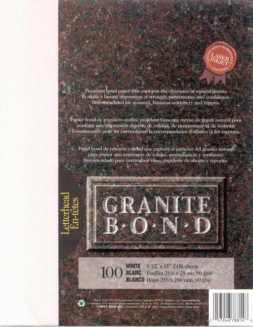 St. James® Granite Bond, White, Pack of 100