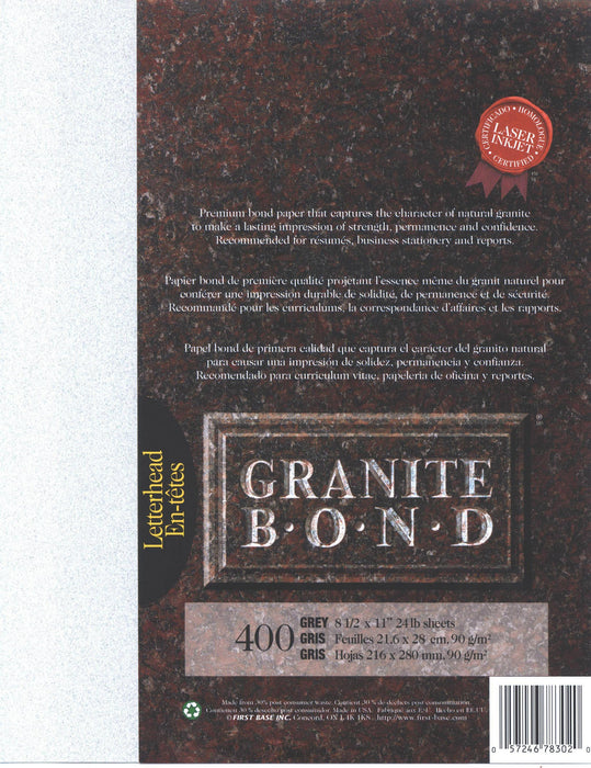 St. James® Granite Bond, Grey, Pack of 400