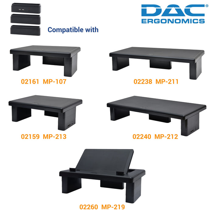 DAC® MP-232 Stax™ Monitor Riser Block Kit with 2 USB Charging Ports