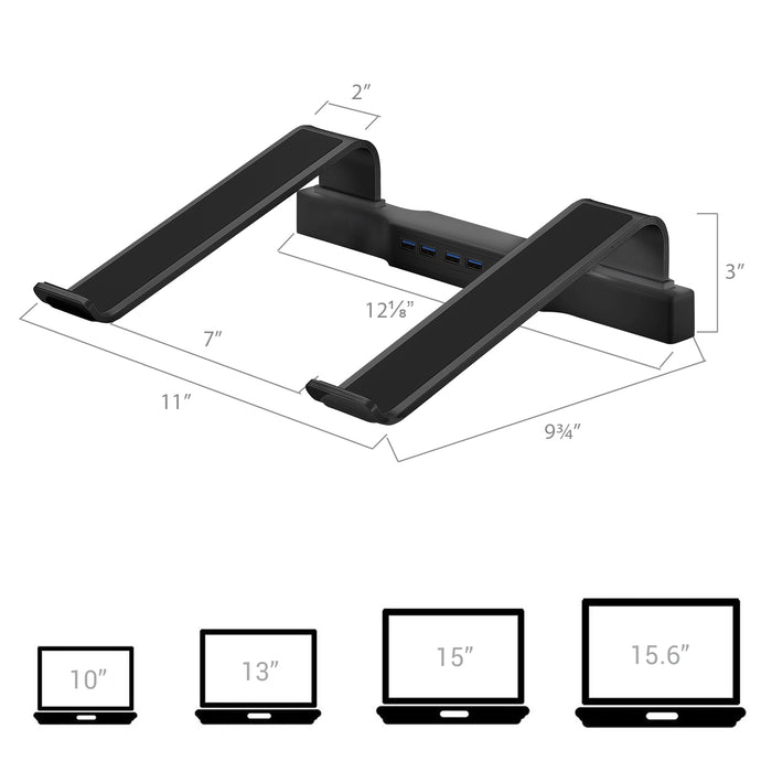 DAC® MP-220 Non-Skid Laptop Stand With 4-Port USB 3.0 Hub, Black
