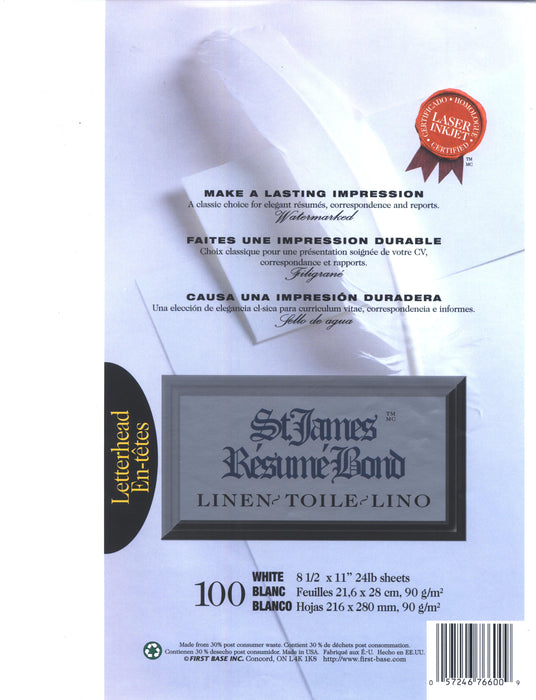 St. James® Résumé Bond, Linen, White, Pack of 100