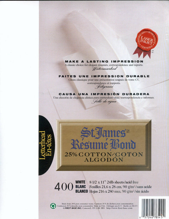 St. James® Résumé Bond, 25% Cotton, White, Pack of 400