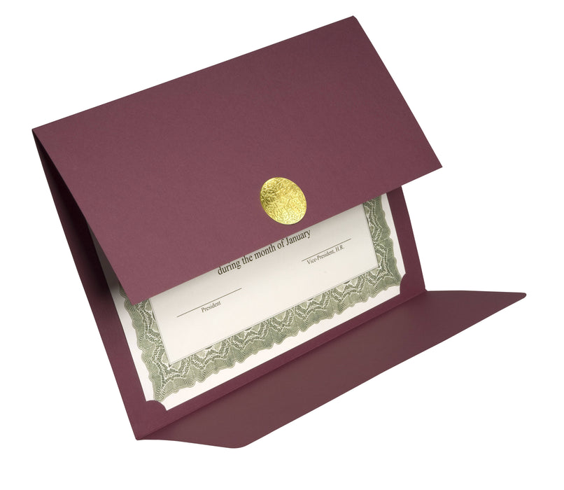 St. James® Elite Medallion Fold Certificate Holders, Linen, Burgundy with Gold Medallion, Pack of 5