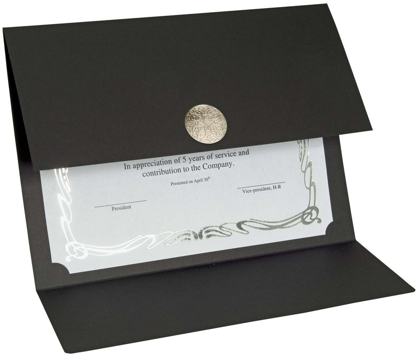 St. James® Elite Medallion Fold Certificate Holders, Black Linen with Silver Medallion, Pack of 5