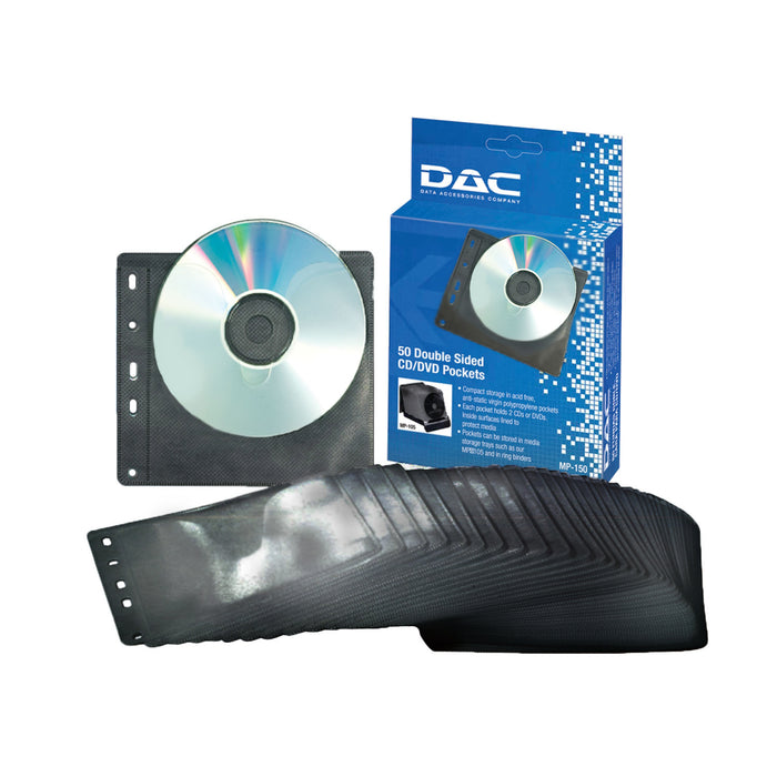 DAC® MP-150 Double-Sided CD Pockets, Pk. 50 cd pocket holder
