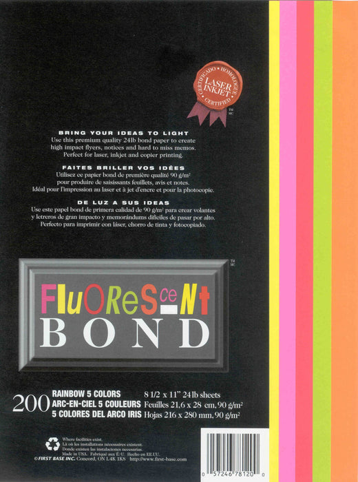 St. James® Fluorescent Bond Rainbow in 5 Bright Colours, Pack of 200