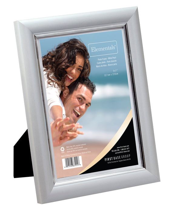 Elementals Easy Insert Photo Frames 5 X 7 White Pearl First
