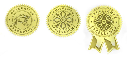 "St. James® Embossed Assorted Seal, 1¾"" (4.5cm) Diameter, Gold, Pack of 30"