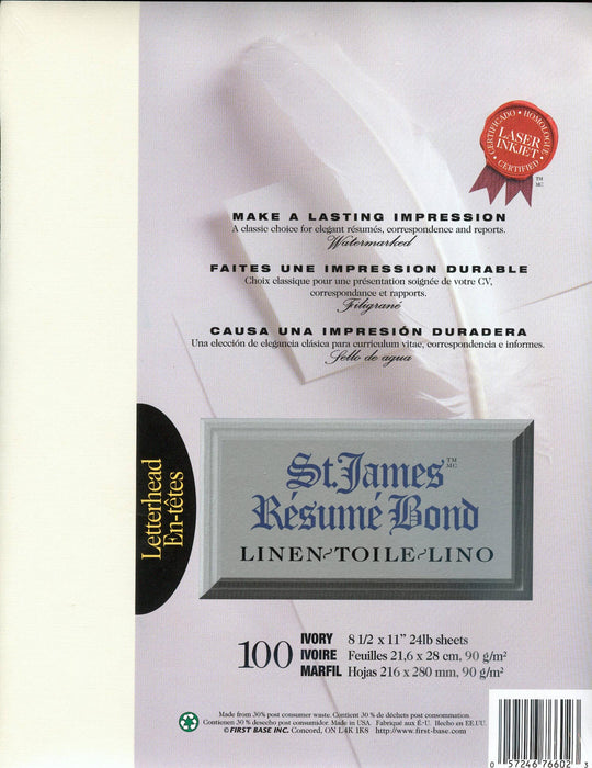 St. James® Résumé Bond, Linen, Ivory, Pack of 100
