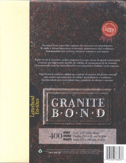 St. James® Granite Bond, Ivory, Pack of 400