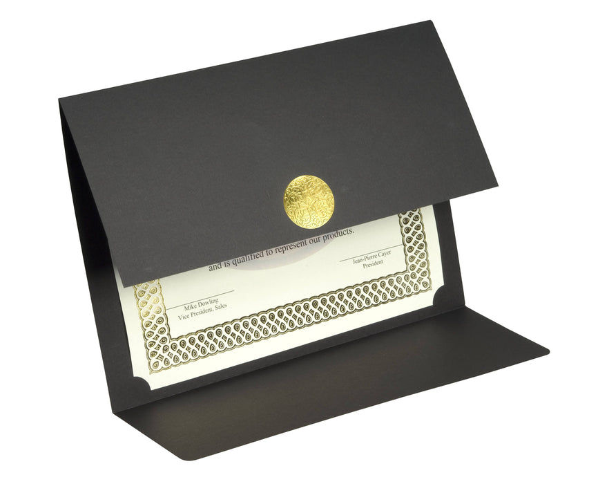 St. James® Elite Medallion Fold Certificate Holders, Black Linen with Gold Medallion, Pack of 5