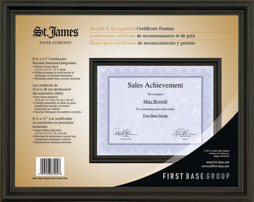 "St. James® Awards & Certificate Frame,12 x 9½"" (31 x 24cm), Milano Glossy Black,"