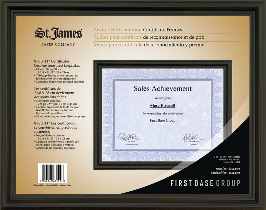 "St. James® Awards & Certificate Frame, 12 x 9½"" (31 x 24cm), Milano Glossy Black"