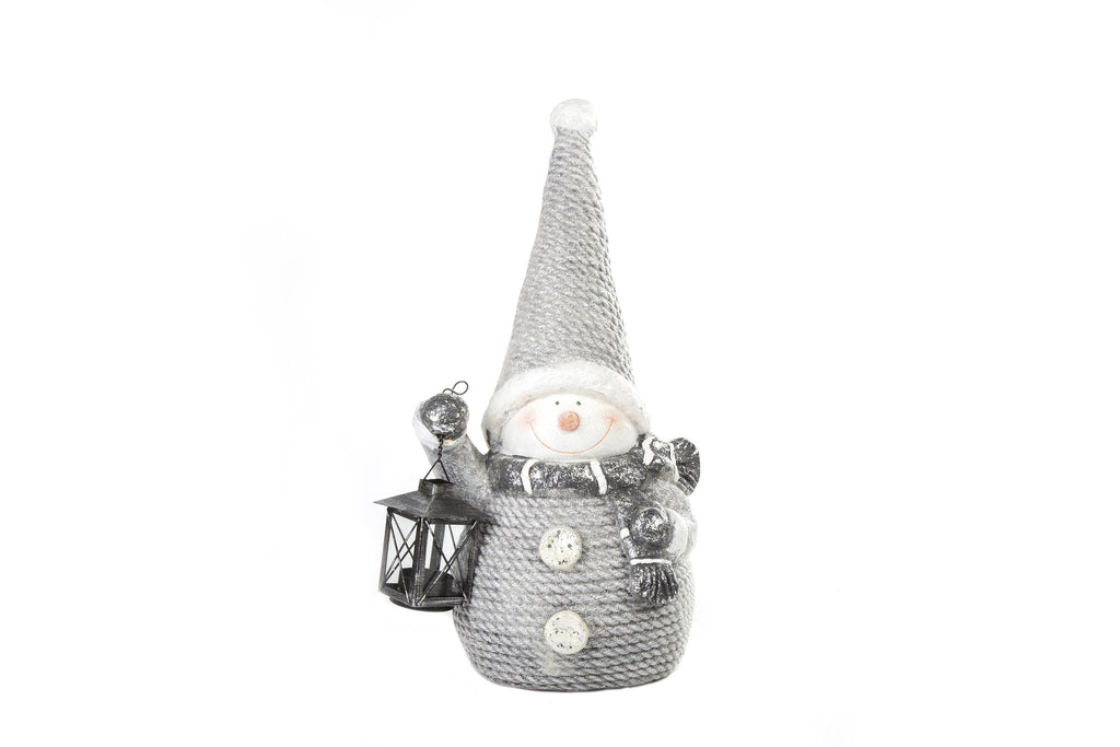 Enchanteur Snowman With Lantern Grey - Height 48cm