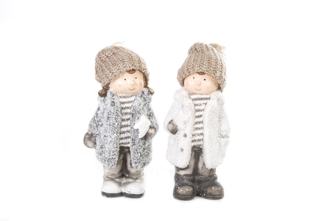 Festive Standing Boy And Girl Set Of 2 - Height 21cm