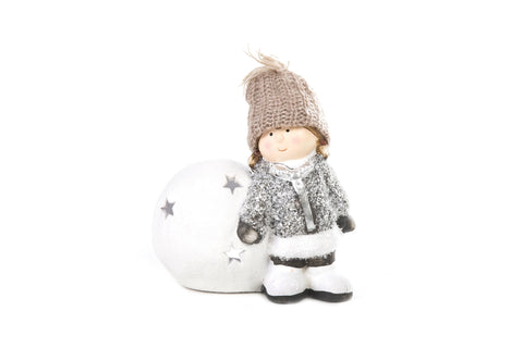Christmas Figurine Molly And George With Snowball Christmas Ornament Set Of 2
