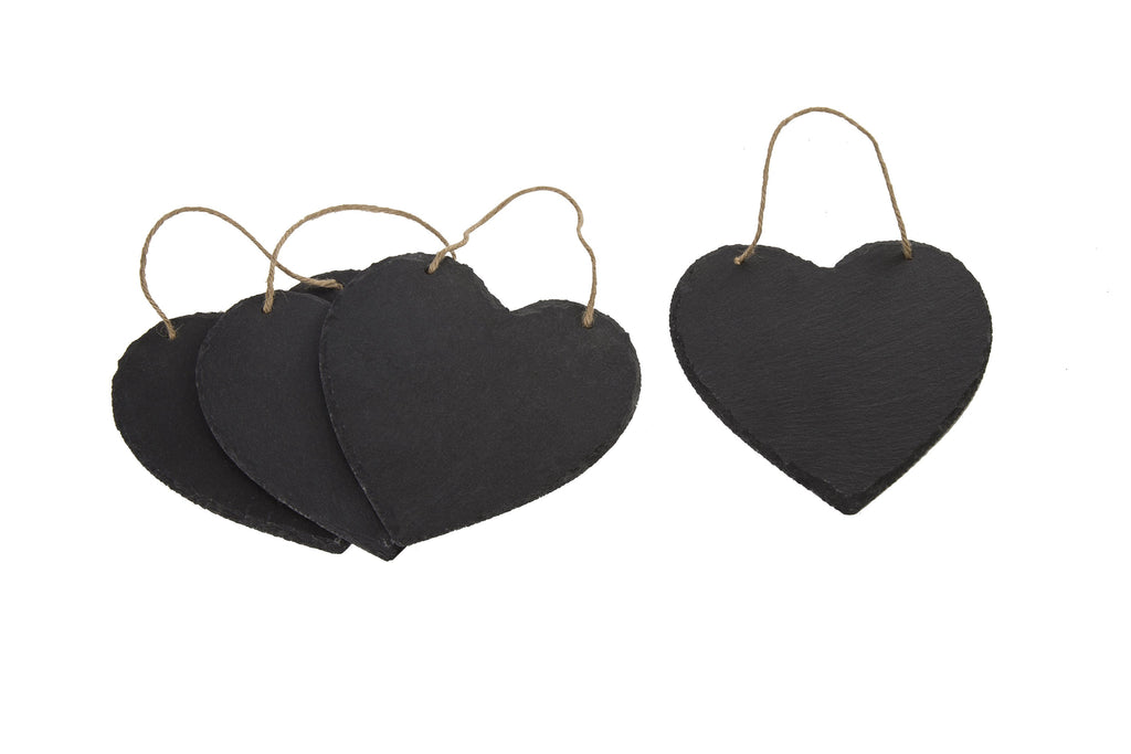 Heart Shape Slate Message Board Set of 4 - Height 15cm x Width 15cm