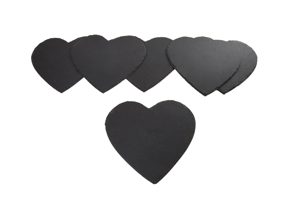 Heart Shape Slate Placemats Set of 6 - Height 25cm x Width 25cm