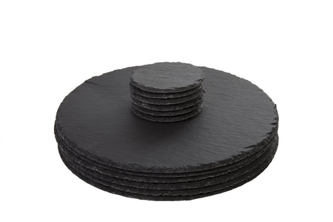 Round Slate Placemats And Coasters Set of 6 - Placemat Dia 30cm + Coaster Dia 10cm