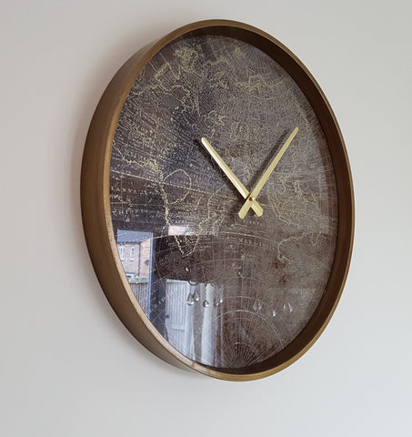 Brown Map Vintage Style Large Wall Clock