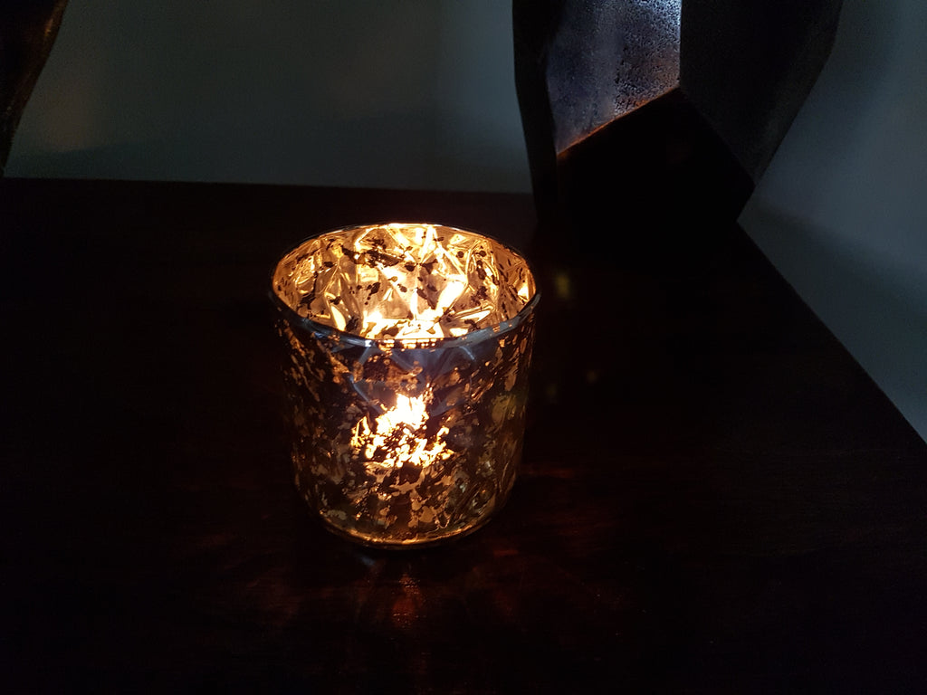 Elva Glass Tealight Holder Gold - Height 9cm